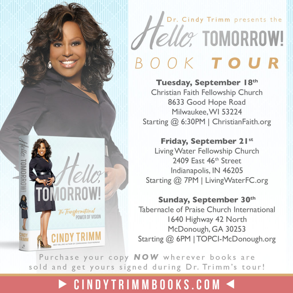 Hello Tomorrow Book Tour 2018! - Cindy Trimm Ministries International